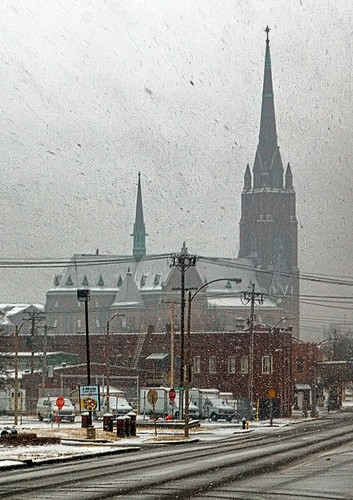 Saint Francis de Sales Oratory, in Saint Louis, Missouri, USA - view from a distance in the snow