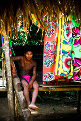 Home Sweet Hut (Universal Stopping Point) Tags: roof shirtless colorful tribal hut maybe barefoot thatch panama cloth tribe multicolored embera tattooed tribesman bodydecoration incaseyouwereinterested emberapuru emberatribe handmadeladder chagrasnationalpark pinkloincloth securemasculinity hisnameischebo