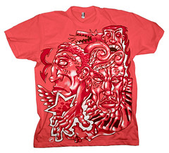 Gentrification : Tee-coral (raz city) Tags: boy urban dog strange face tongue death three kid clothing bottle fight friend child hand heart faces cartoon attack surreal style tshirt battle cyclops robots artsy popart shirts cuddly terror demon bolts swirl monsters lightning gentrification bleeding psychedelic creatures apparel grimreaper teeshirts tees fasion 3brothers heartless tvtvhead
