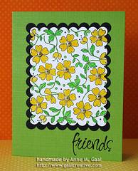 Friends (prospurring (Anne)) Tags: flowers friends black green yellow friendship heroarts spellbinders wallpaperflowers sharelaughter nestabilities cl151 prospurring k5185 scallopedrectangles march2010a