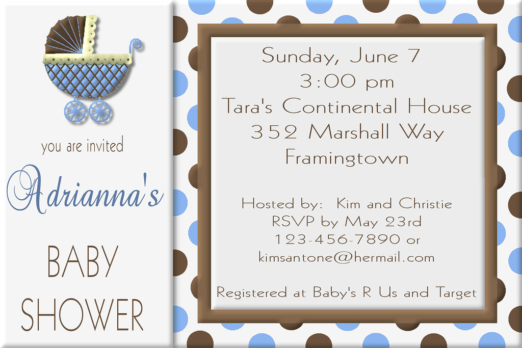 D#2, custom, personalized, elegant, bridal, baby, shower, birthday, invitation, wedding, blue, brown, polka, dot, polka dot, carriage, by, stroller, trendy, tiffany, tifany, unique, design, anniver