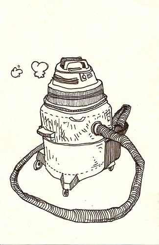 A pen illustration of a shop vac via http://www.flickr.com/photos/46864435@N00/4423773262