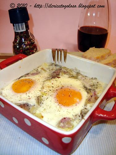 Uova al vino rosso in cocotte