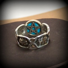 Horseman's ring of Suleiman 14K gold and sterling silver (leespicedragon) Tags: blue original art gold star handmade turquoise oneofakind ooak magic jewelry ring handcrafted 14k spiritual magical pentacle forged sterlingsilver marvinleebillings