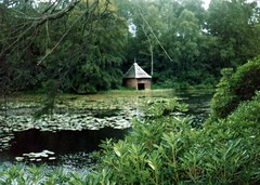 417-japanese-style-pond (Archive Family Photos) Tags: pond waterlilies summerhouse shrubbery