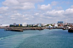 Remains of the Royal Pier in Southampton.Taken from the deck of the Isle of Wight Ferry bound for Cowes. (ronsaunders47) Tags: port docks boats coast piers southampton pavillions royalpier