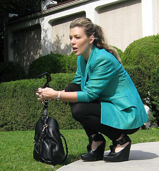 all black teal color pop blazer -6 sh