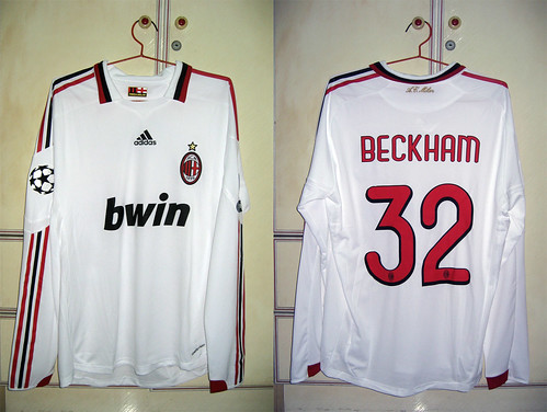 AC Milan 2009-2010 UCL Away L/S (BECKHAM - Player Issued)