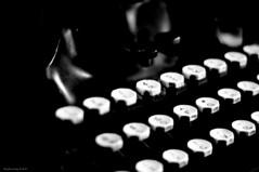 Antique Typewriter #5 (raisinsawdust - (aka: tennphoto)) Tags: old bw typewriter keys 50mm newspaper nikon keyboard mechanical antique tennessee letters f18 newsroom 2010 newsreporter deadlines d90 oliver9 nikond90 veryanalog nikond90bw pushkeys