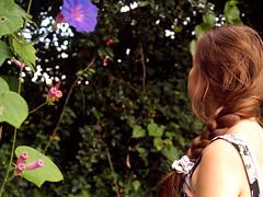 the beauty and the tragedy (danielle kiemel) Tags: red portrait floral girl fashion female garden hair bokeh sister magic young tranquility silence messy earrings bun braid necks scrunchie plait magicallight daniellekiemel
