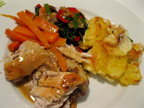 Roast Chicken with roast carrots, potato gratin and grönsåker mix