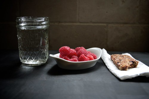 water, raspberries, bar