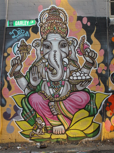 graffiti of Ganesh, the elephant-head god.
