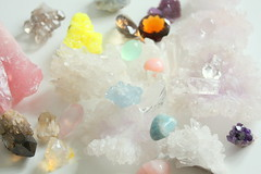 Colourful Crystals (noriko.stardust) Tags: pink blue light white flower green water rose yellow rock crystals purple cathedral crystal aquamarine collection clear jelly sulphur amethyst smoky quartz opal gems source gem celestite remedy fluorite jacare homeopathic homeopathy silica silicea