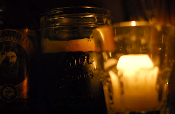 in a mason jar.