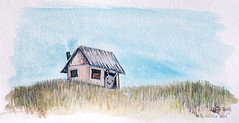 hello mister snail (TummyMountain) Tags: hello blue house cute home grass watercolor painting print snail kawaii watercolour gouache greeting giclee tummymountain