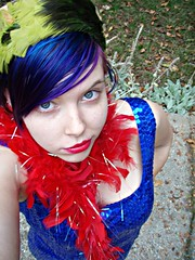 Colors... (Megan is me...) Tags: megface meg megan meganisme self portrait photography blue sequin dress ball gown red iridescent boa green vintage feather hat bright neon colorful colored dyed hair color jerome russell punky colours colors turquoise plum special effects atomic pink napalm orange crazy awesome unique one kind diy style fashion clothes clothing triceratops earrings nose freckles pretty grey greygreenblue eyes black fence net fishnets fish nets glamour glamorous model modeling redlips lipstick natural sun light lighting