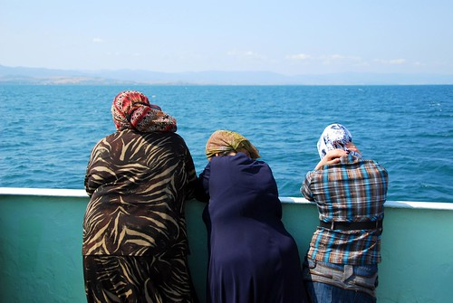 turkish ladies on the ferry across the sea of marmara