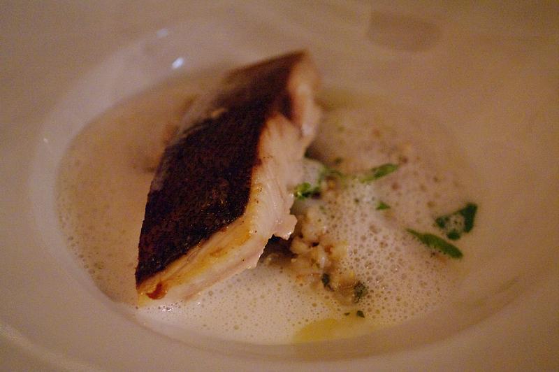 Seared kingfish, prawn and pearl barley risotto, coconut cream