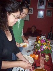 mom and Linda getting dessert