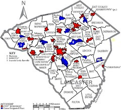 municipal boundaries in Lancaster County (by: US Census via Wikimedia Commons)