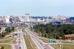 Downtown Peoria and I-74 (1975) (roger4336) Tags: bridge illinois highway 1975 interstate 74 peoria illinoisriver i74 eastpeoria murraybaker fondulacdrive