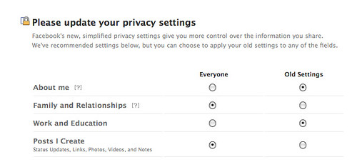 Image of Facebook privacy settings
