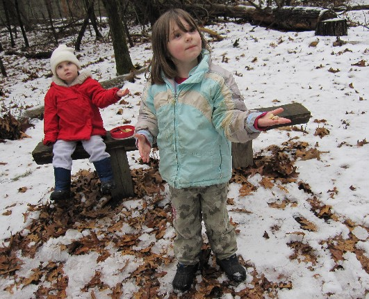 Ava and Maxine Waiting for Chickadees