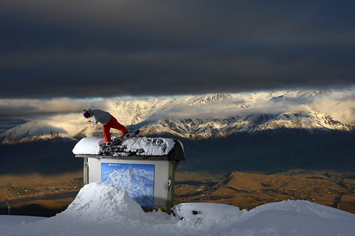 Snowboarder at Coronet Peak