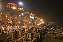 Aarti on the Ghats of River Ganga - Banaras (Tilak Haria) Tags: india river evening varanasi kashi puja prayers ganga ganges banaras aarti ghat pratibimbsangli
