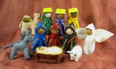 School Auction Nativity Set Dec09 (Alkelda) Tags: christmas wool angel joseph doll sheep needlework shepherd embroidery mary jesus waldorf donkey felt noel camel manger etsy creche nativity magi wisemen shepherdess alkelda