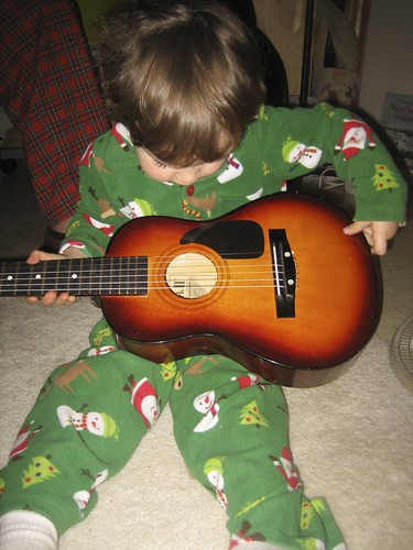 Dylan and his little guitar from Grandma and Grandpa