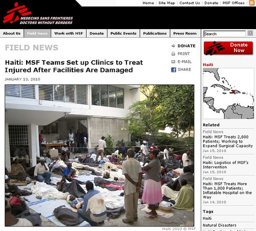 Doctors without Borders and Haiti Earthquake