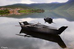 Lake Zazari on the NorthWest Macedonia, Greece. (Ermis Kasapis) Tags: lake boat greece macedonia reflexions woodboat amyntaio amynteo ysplix zazri