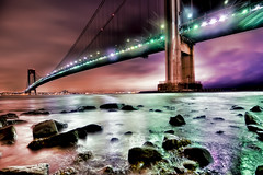 Verrazano - Narrows Bridge, in the rain (mudpig) Tags: nyc newyorkcity longexposure bridge newyork night geotagged hudsonriver statenisland verrazanobridge hdr verrazanonarrowsbridge verrazano mudpig stevekelley
