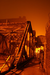 Stanley Dock Bascule Bridge Fog ([DEADCITIES]) Tags: bridge light red fog night liverpool docks rust glow apocalypse derelict bascule