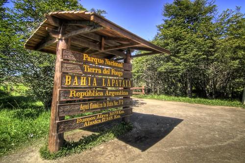 Sign at Bahia Lapataia