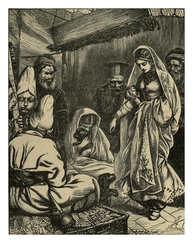 002-Zobeida castigando a los perros- A. B. Hougston-Dalziel's Illustrated Arabian nights' entertainments (1865)