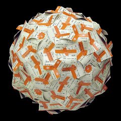 Train tickets sphere (Nick Sayers) Tags: sculpture art craft sphere squaredcircle recycling escher geodesic