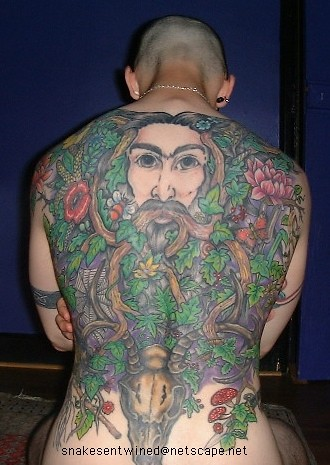 """""""Greenman"""" tattoo - showing the completed design: with the Greenman,"""