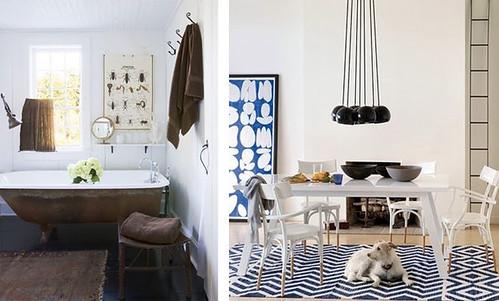 rustic bathroom blue rug