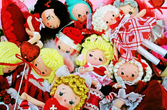 Valentine Darlings (boopsie.daisy) Tags: pink girls red white holiday cute love vintage pose hearts doll dolls day heart little sweet handmade ooak inspired adorable kitsch valentine plush valentines 50s 30s dollies 40s frilly boopsiedaisy ringelst