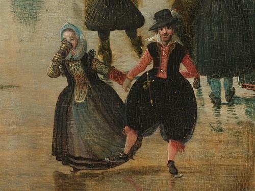 winterlandschap met schaatsers.. (detail)