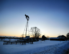 Winter Windmill (` Toshio ') Tags: park trees winter sunset snow tree ice nature water windmill colors field barn creek forest fence buildings evening frozen farming snowstorm maryland midatlantic toshio annearundel kinderfarmpark kinderfarm heritage2011