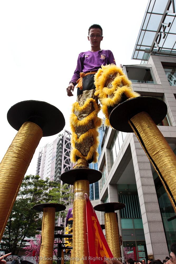 Lion Dancer Checking on Stilts @ Pavilion, KL, Malaysia