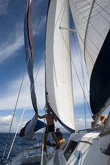 Spinnaker Deployment Off Martinique, Caribbean (Marie-Marthe Gagnon) Tags: ocean light shadow sky water sport marie boat sailing action martinique marthe sails 15 vessel 150 explore catamaran 100 spinnaker page47 dda gagnon 15f feb18 mpdquebec dragondaggerphoto mariegagnon mariemarthegagnon mariemgagnon