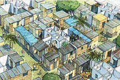 Haitian cabins depicted in a highly urban setting (by: DPZ)