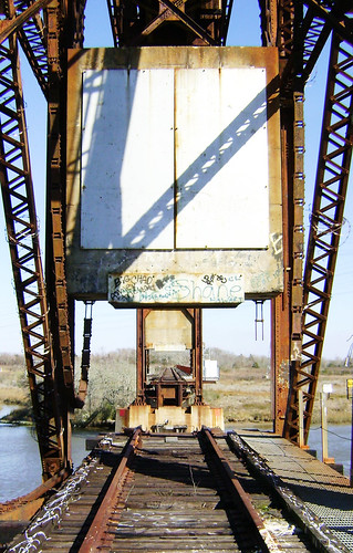 Truss Railroad Lift Bridge over Cedar Bayou, south of Spur 55, Baytown, Texas 0228101527