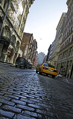 SoHo Streets (Alvim Gimarino) Tags: road street new york city brick canon buildings point shot pavement manhattan taxi soho vanishing brickroad 50d mywinners