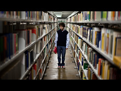 Red (Tiag Ribeiro) Tags: red portrait man student university library books braga uminho